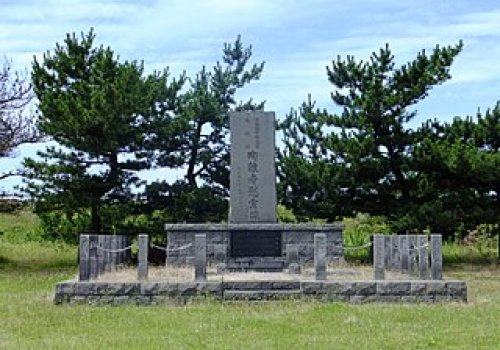 A memorial monument for the tsunami victims of the 1983 Sea of Japan earthquake. On May 26, 1983